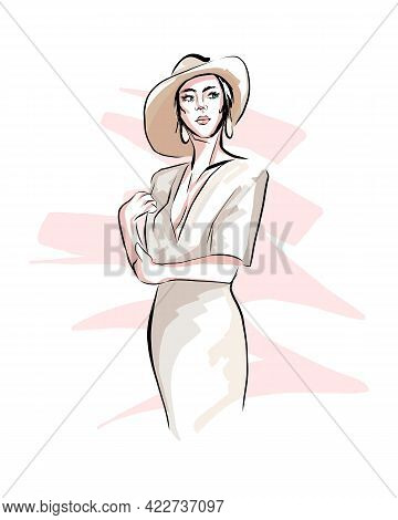 Beautiful Young Woman In Hat. Stylish Girl, Colored Drawing, Realistic. Vector Illustration Of Paint