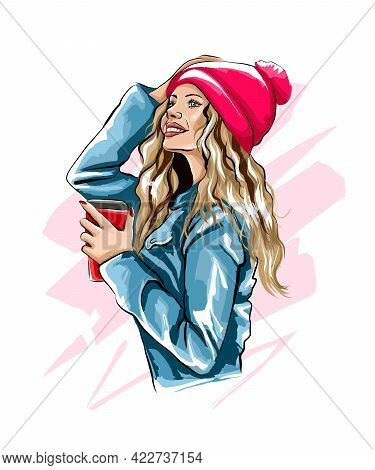 Beautiful Young Woman With Plastic Coffee Cup In Her Hand. Stylish Girl, Colored Drawing, Realistic.