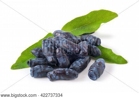 Honeysuckle Berries With Leaves Isolated On White Background
