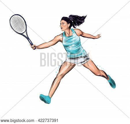 Abstract Tennis Player With A Racket From Splash Of Watercolors, Colored Drawing, Realistic. Vector