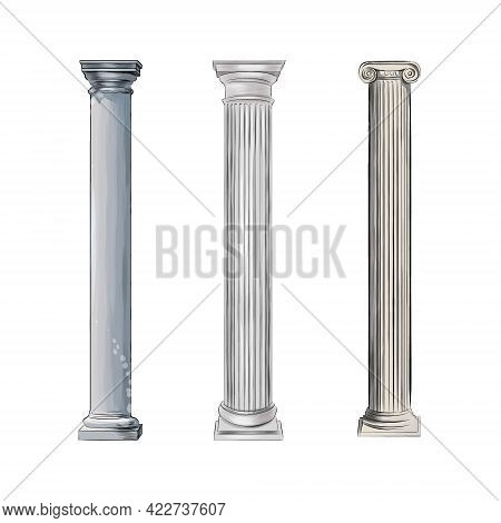Antique White Columns From Splash Of Watercolors, Colored Drawing, Realistic. Vector Illustration Of