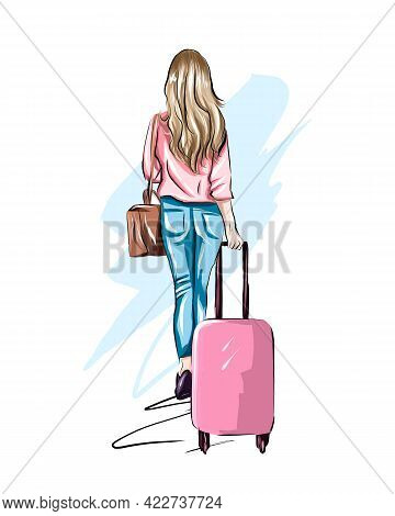 Beautiful Young Woman With Suitcase. Stylish Girl Travels, Colored Drawing, Realistic. Vector Illust