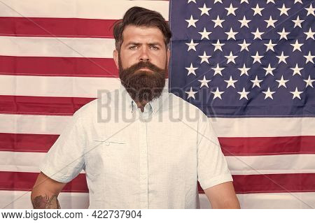 Man Well Groomed Hipster Stylish Appearance American Flag Background, Office Worker Concept