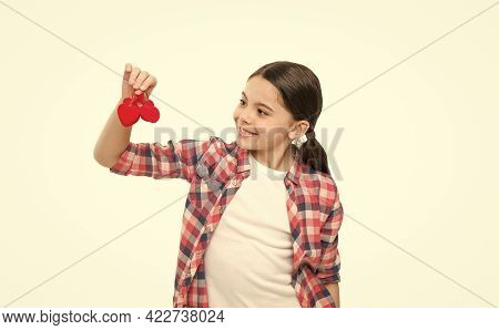 One Person, Thousand Feelings. Small Girl Holding Hearts Toys. Cute Girl With Red Hearts Love. Child