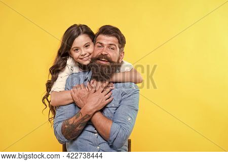 Love Is Main Ingredient. Happy Daughter Hug Father With Love. Bearded Man And Little Child. Happy Fa