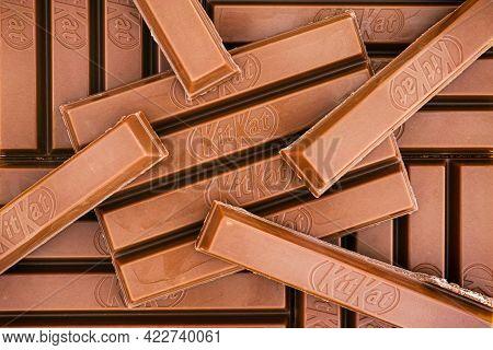 Tambov, Russian Federation - March 19, 2021 Kitkat 4 Finger Milk Chocolate Bars. Full Frame.
