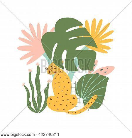 Jungle Jaguar. Rainforest Jaguar. African Wilc Cat Under Tropical Jungle Leaves. Vestor Leopards And