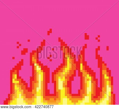 Pixel Fire. Art 8 Bit Fire Objects. Game Icons Set. Comic Boom Flame Effects. Bang Burst Explode Fla