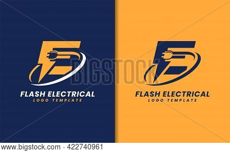 Abstract Initial Letter E With Electrical And Flash Lightning Concept Logo Design. Vector Logo Illus