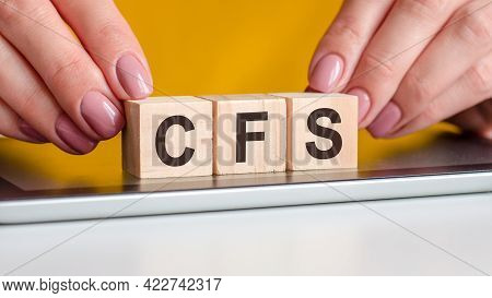 Word Cfs Made With Wood Building Blocks, Stock Image