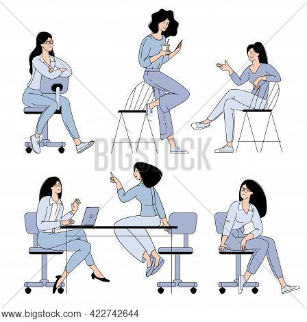 Flat Design Vector Cartoon Characters Of Young Women Working In Office, Co-working Space Or Remotely
