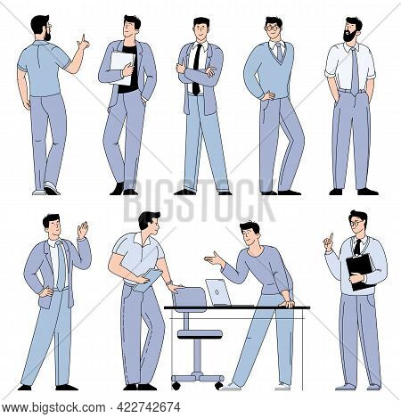 Flat Design Vector Cartoon Characters Of Young Men Working In Office, Co-working Space Or Remotely A
