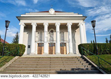 A Classical Facade Of The Catholic  Parish Church In Poznan