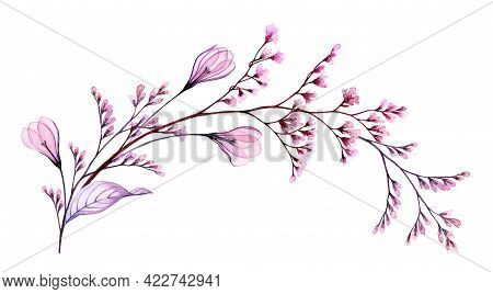 Watercolor Floral Arch. Hand Painted Artwork With Transparent Spring Flowers And Branches In Blossom