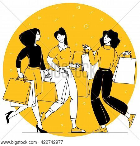 Flat Design Vector Concept Of Happy Young Women Enjoing With Shopping.