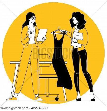 Fashion Clothing Store Owner And Manager. Small Business Vector Concept.