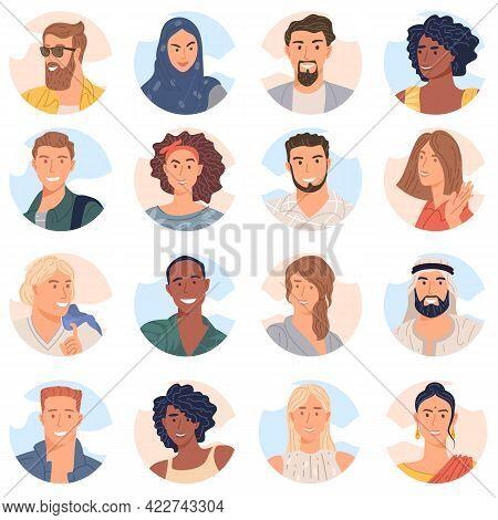 Various People Avatar Of Diverse Business Team Flat Design Vector Collection. Bundle Of Joyful Smili