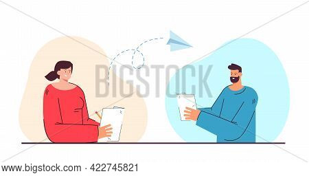Man And Woman Corresponding By Letters Flat Vector Illustration. Friends Writing Letters. Communicat