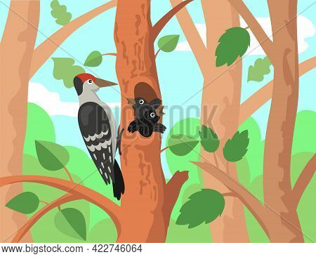 Woodpecker With Chicks Illustration In Cartoon Style. Cute Forest Birds On Tree Hollow, Baby Animals