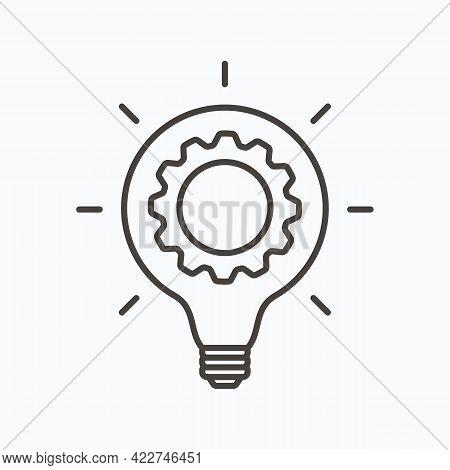 Innovation Thin Line Symbol, Cogwheel And Lamp Bulb Icon. Innovation Logo. Vector Illustration. Eps1