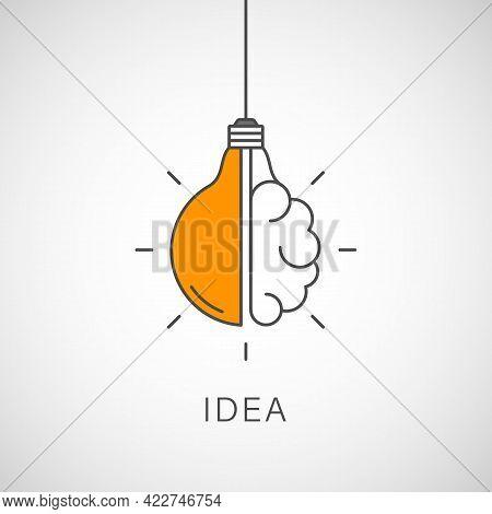 Creative Idea Line Icon. Lightbulb Education, Innovation Logo. Vector Illustration