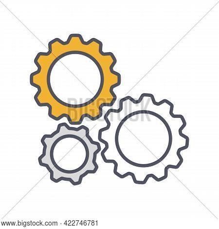 Gear Settings Thin Line Symbol, Cogwheel Icon. Innovation Logo. Vector Illustration