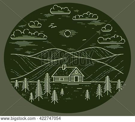 Cabin In Grasslands And Meadows With Pine Trees Linear Vector Nature Illustration On Dark, Log Cabin