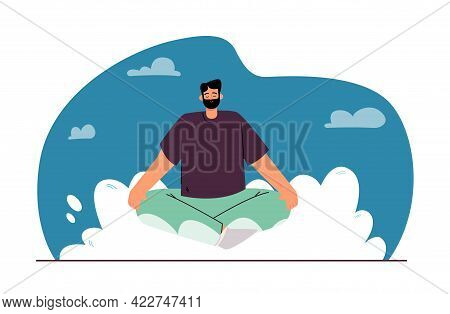 Man Sitting In Lotus Position On Abstract Cloud. Sky In Background. Cheerful Bearded Man Relaxing Fl