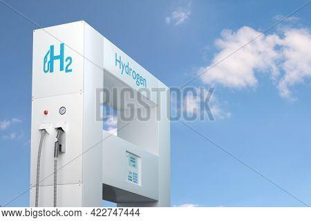Hydrogen Gas Stations Fuel Dispenser On Cloudy Sky. 3d Illustration.