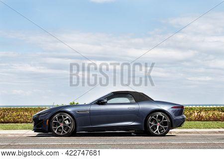 Palm Beach, Florida Usa - March 21, 2021: New 2018 Jaguar F-type Luxury Sports Car Grey Color