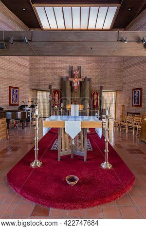 Santa Inez, Ca, Usa - May 26, 2021: San Lorenzo Seminary, Inside Church, Chancel And Altar With Back