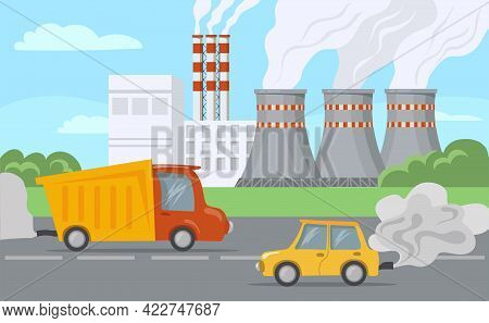 Industrial Landscape Illustration. Chimney Polluting Air With Toxic Smoke. Cars Driving Past City Fa