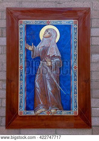 Santa Inez, Ca, Usa - May 26, 2021: San Lorenzo Seminary, Inside Church, Closeup Of Saint Clare Pain