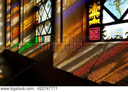 Sunbeams passing through church windows