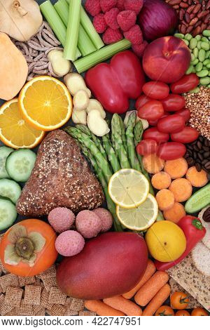 Health food for healthy eating with fruit, vegetables, grains, cereals and bread products. Very high in antioxidants, fibre, anthocayanins, vitamins and smart carbs. Vegan plant based concept.