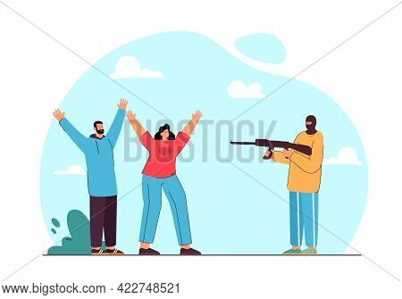 Criminal Pointing Gun At Man And Woman Flat Vector Illustration. Scared Couple Raising Their Hands U