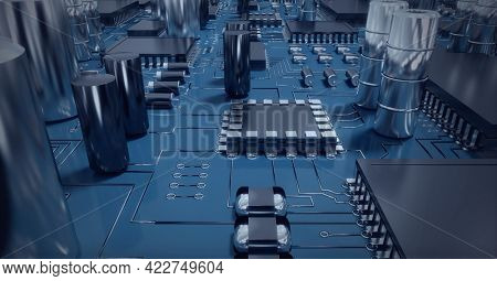 Composition of computer processors and circuit board. global data processing, computing and technology concept digitally generated image.