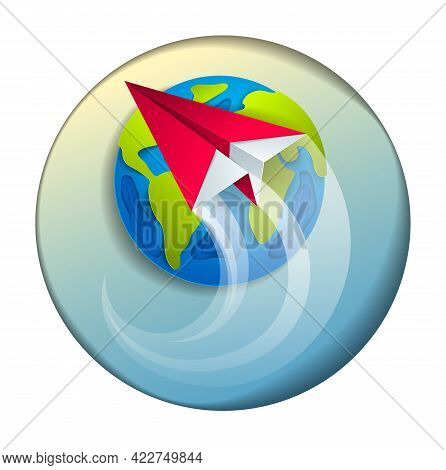 Origami Folded Toy Plane Flying Around The Cartoon Paper Cut Earth, Vector Modern Style 3d Illustrat