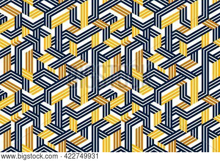 Seamless Isometric Lines Geometric Pattern, 3D Cubes Vector Tiling Background, Architecture And Cons