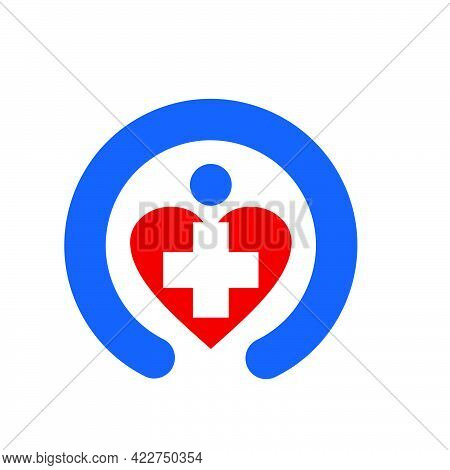 Healthcare Medical Logo And Vector Icon With Love And Care To People Application