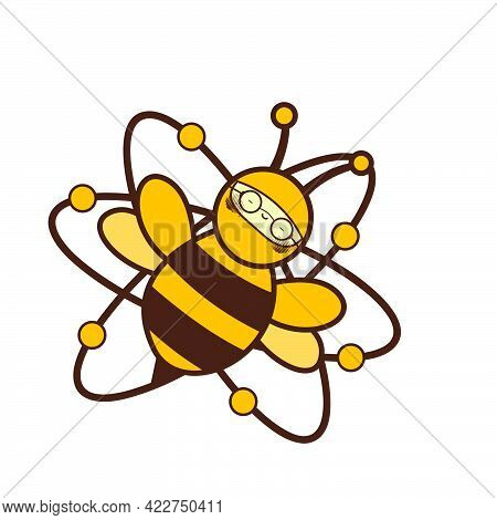 Glasses Lazy Atomic Bee Funny Character For Logo And Vector Icon