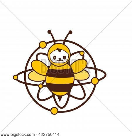 Happy Smile Atomic Bee Funny Character For Logo And Vector Icon