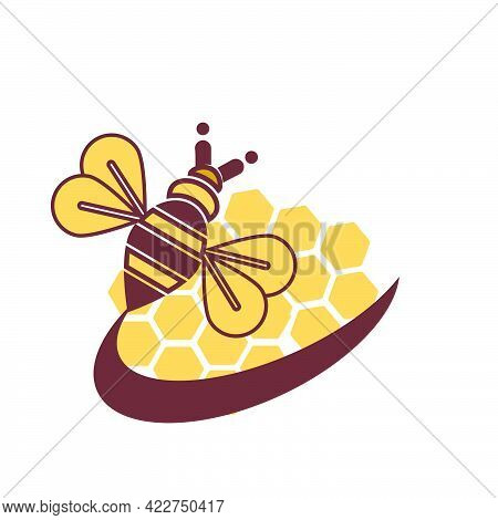 Modern Bee And Honeycomb Vector Logo And Iconimage Description