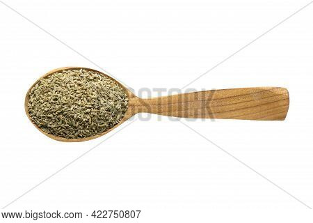 Anise Seeds For Adding To Food. Anise Spice In Wooden Spoon Isolated On White. Anise Seasoning Of De