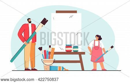 Female Student Studying Drawing With Male Teacher. Cartoon Man And Girl Holding Painting Brushes, St