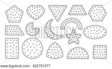 Black Outline Biscuit Icons Set. Contour Template Snack, Cracker. Collection Tasty Food Cookies Diff