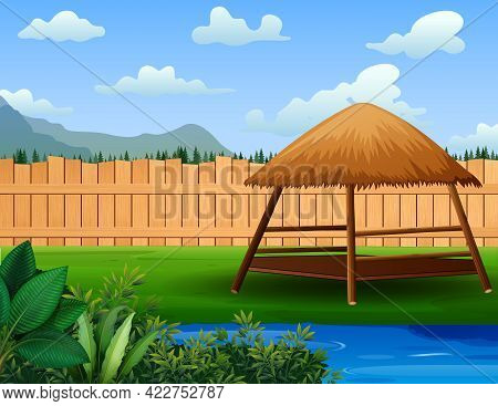 A Beautiful Garden With A Gazebo And Pond