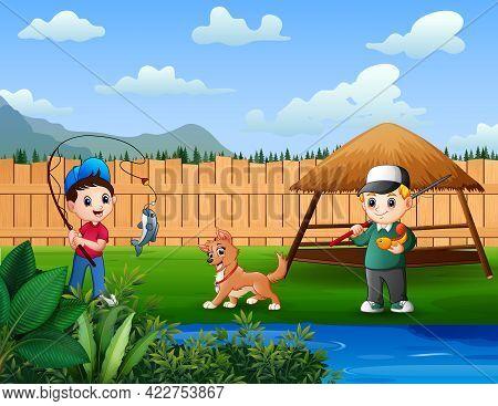 Boy Enjoys Fishing In Backyard Pond Illustration