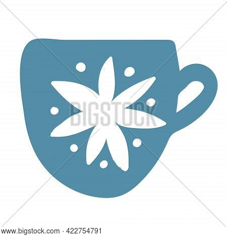 Blue Tea Cup With Floral Ornament Isolated On White