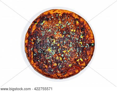 Round Dough Pie Decorated With Colored Pastry Sprinkles. Dough Cake. Sweet Dessert. Homemade Baking.